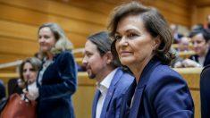 La vicepresidenta primera del Gobierno, Carmen Calvo, junto al vicepresidente segundo, Pablo Iglesias. Foto: EP