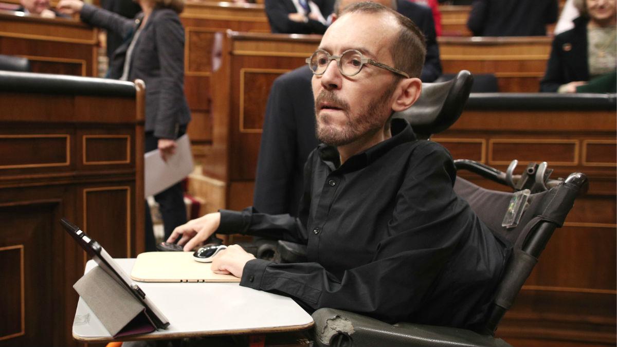 Pablo Echenique, portavoz de Podemos en el Congreso de los Diputados, durante un Pleno en la Cámara Baja. (Foto: Europa Press)