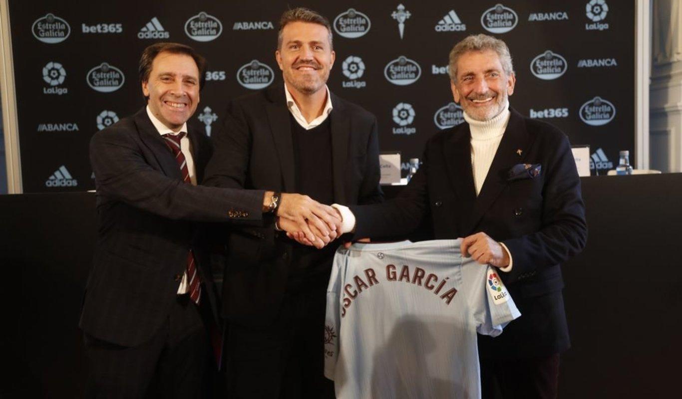 Miñambres, Óscar y Mouriño, en la presentación del técnico.