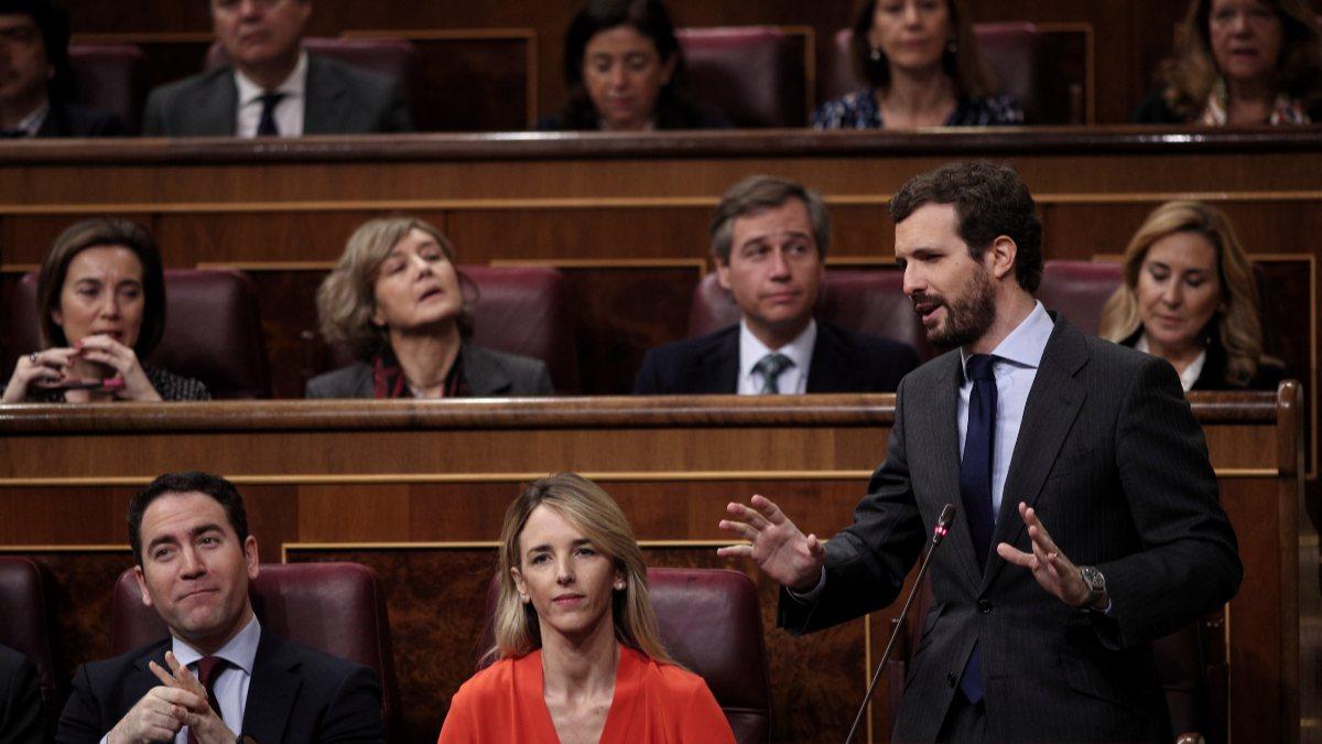 El presidente del PP, Pablo Casado en el Congreso. Foto: EP
