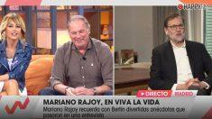 Emma García, Bertín Osborne y Mariano Rajoy en 'Viva la vida'