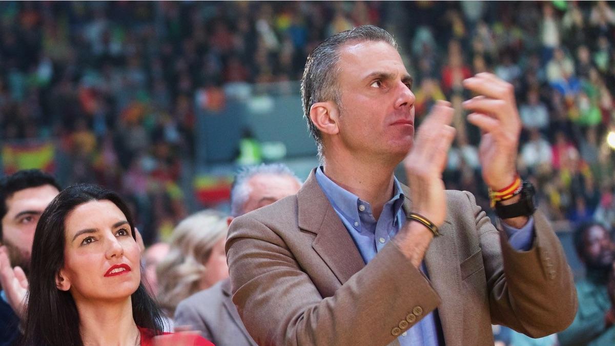 Javier Ortega Smith este domingo en el Palacio de Vistalegre. (Foto: Vox)