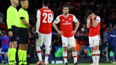 Los jugadores del Arsenal, en el partido ante Olympiacos. (Getty)