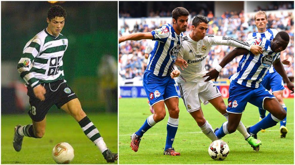 Cristiano Ronaldo, con el Sporting y con el Madrid ante el Dépor.