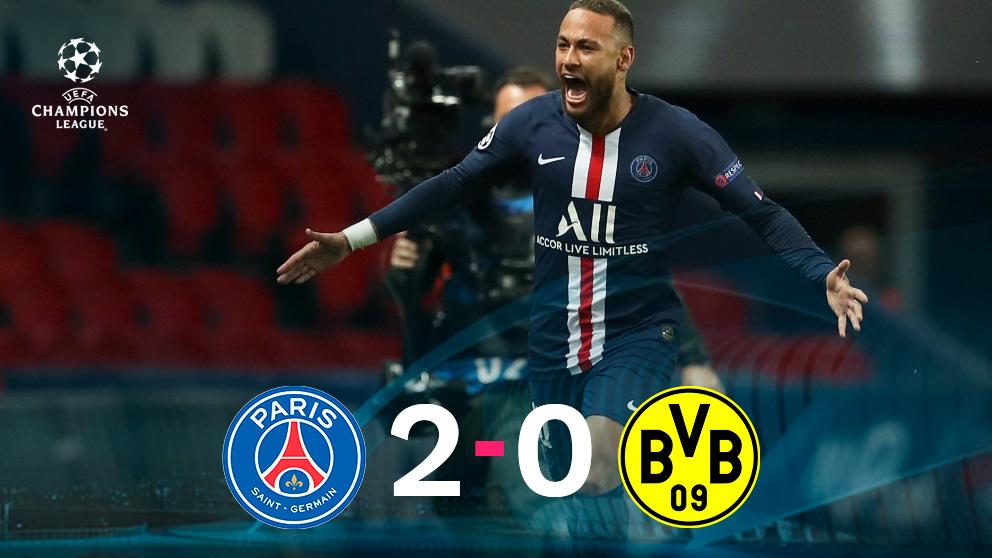 Neymar celebra su gol ante el Borussia.