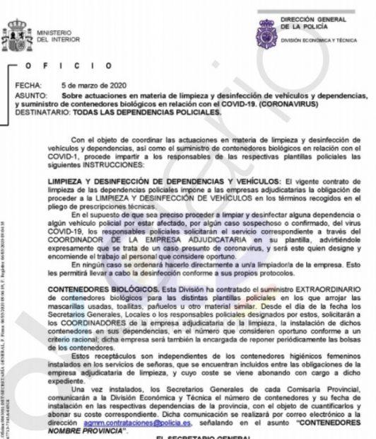 Cuatro días antes de elevar la alerta y 3 antes del 8M el Gobierno avisó a la Policía del descontrol del coronavirus