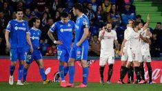 Una imagen del último duelo entre Getafe y Sevilla (AFP).