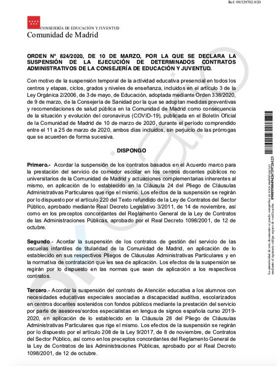 Orden de la Consejería madrileña de Educación. (Clic para ampliar)