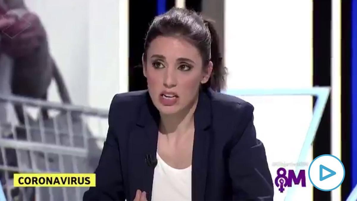 Irene Montero en la entrevista de 'El Objetivo' horas después de asistir a la manifestación del 8M.