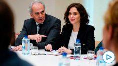 El consejero de Sanidad, Enrique Ruiz Escudero, e Isabel Díaz Ayuso en el Comité de Expertos del Coronavirus. (Foto: Comunidad)