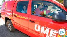 La ministra Margarita Robles a bordo de un vehículo de la UME en Gran Canaria @EFE
