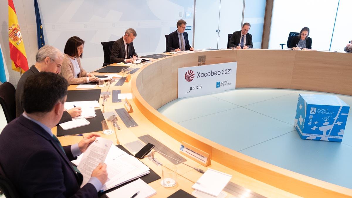 Alberto Núñez Feijóo preside la reunión extraordinaria del Consejo de la Xunta de Galicia por la crisis del coronavirus. Foto: EP