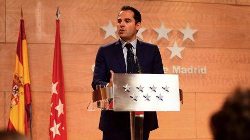 El vicepresidente de la Comunidad de Madrid, Ignacio Aguado, en rueda de prensa. (Foto: Comunidad)