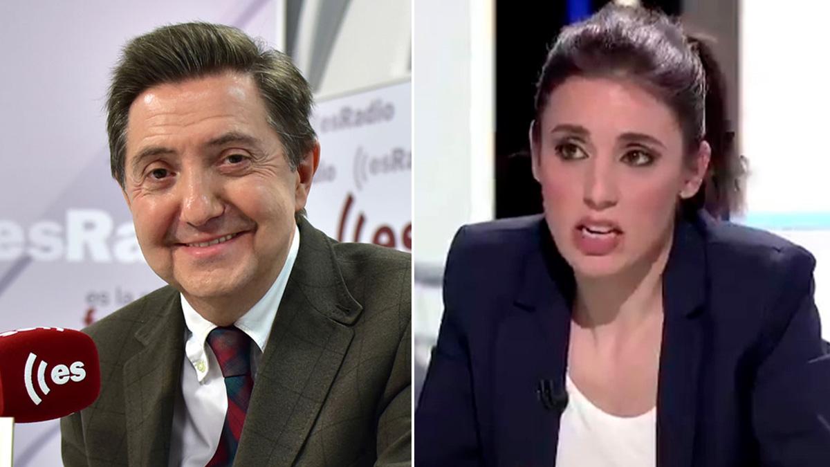 El periodista Federico Jiménez Losantos y la ministra de Igualdad, Irene Montero.