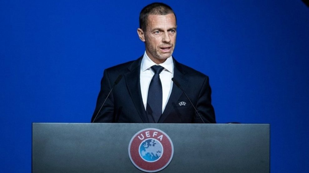 Aleksander Ceferin, durante una asamblea de la UEFA.
