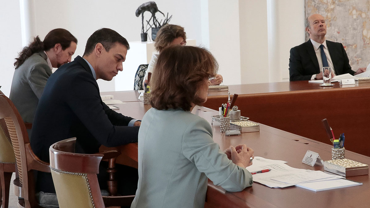 Pedro Sánchez y Pablo Iglesias, en el Consejo de Ministros.