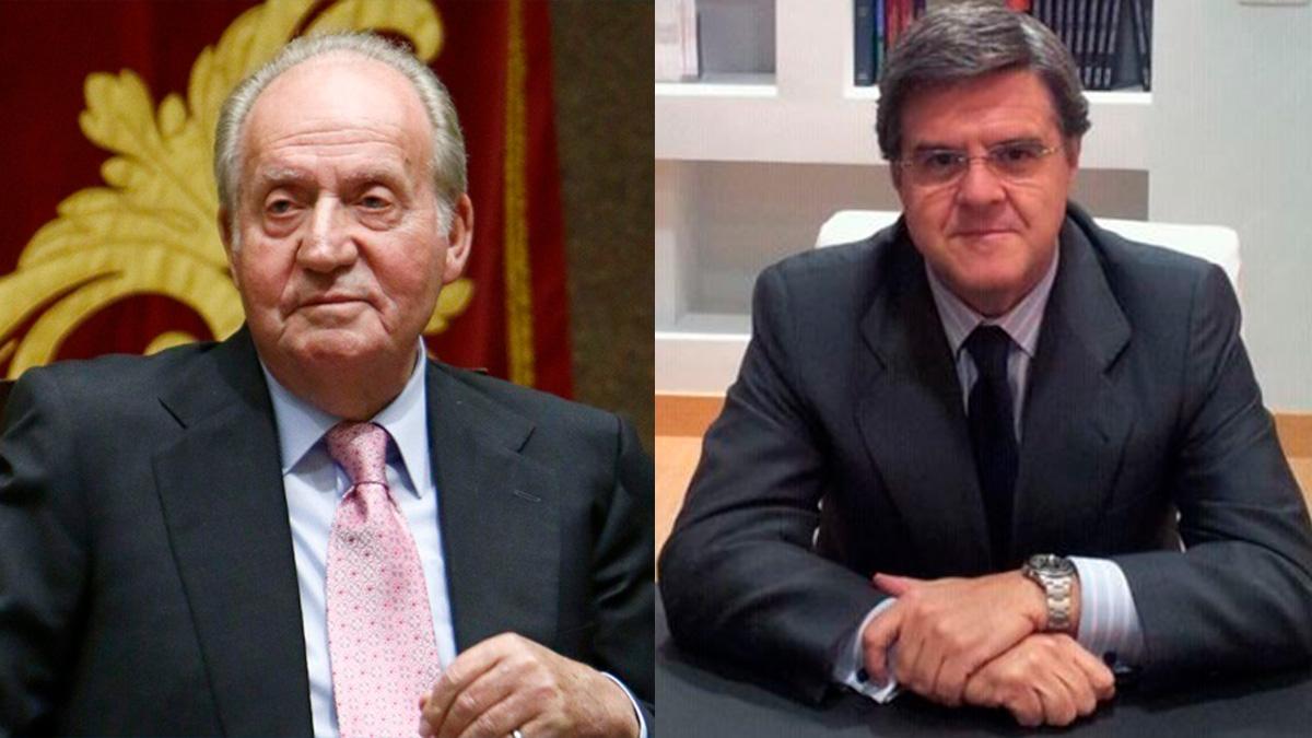 El rey emérito Juan Carlos I junto a su abogado,  Javier Sánchez-Junco Mans.
