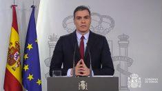 El presidente del Gobierno, Pedro Sánchez, este sábado en rueda de prensa.