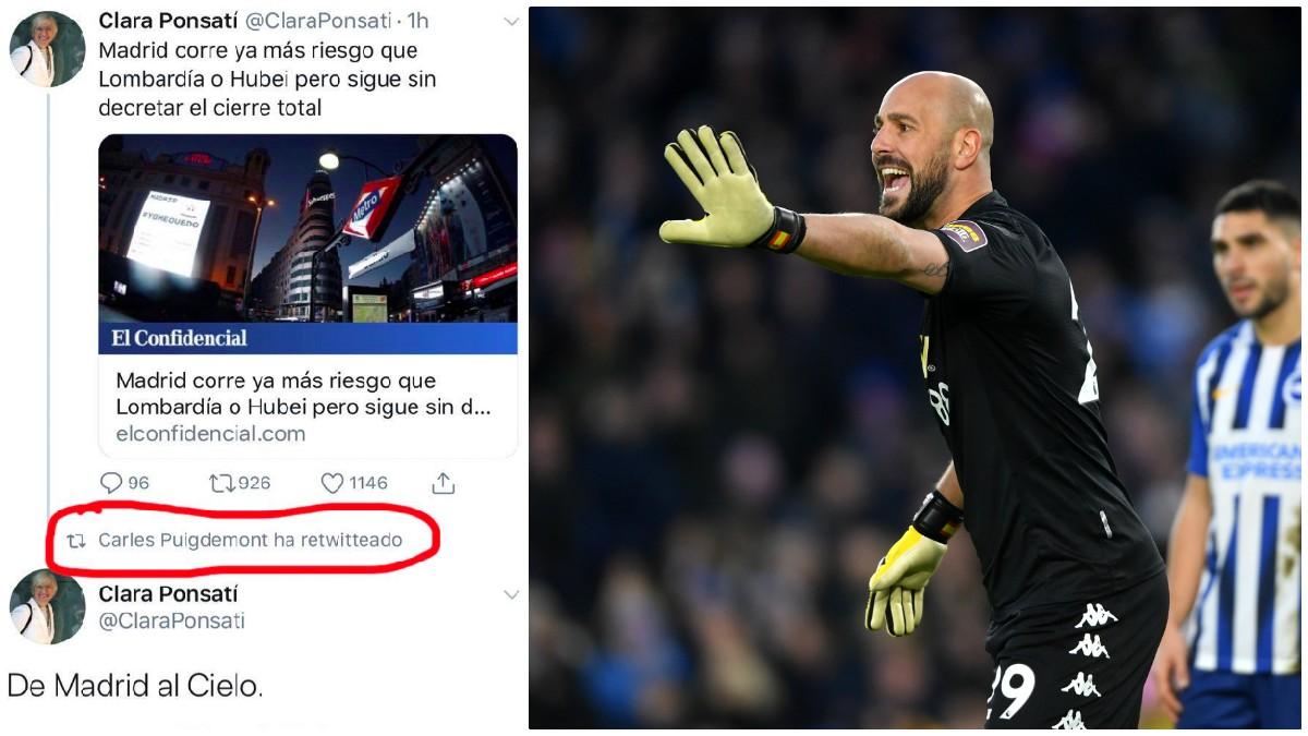 Pepe Reina contesta al denunciable tuit de Ponsatí. (Getty)