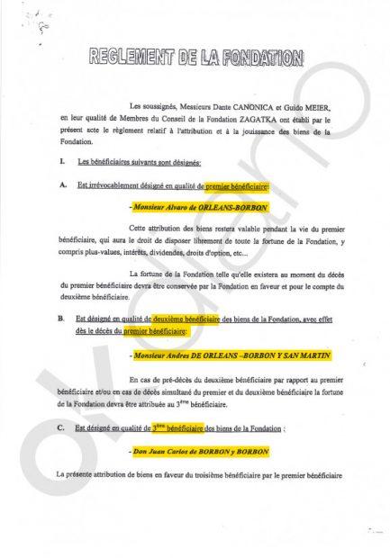 Este documento prueba que Juan Carlos I nombró beneficiario de la offshore Zagatka al Rey Felipe en 2006
