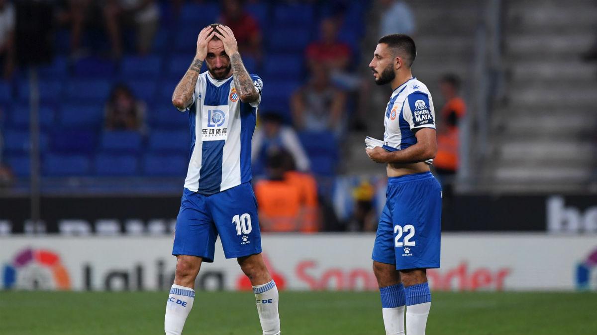 Futbolistas del Espanyol durante un partido. (Getty)