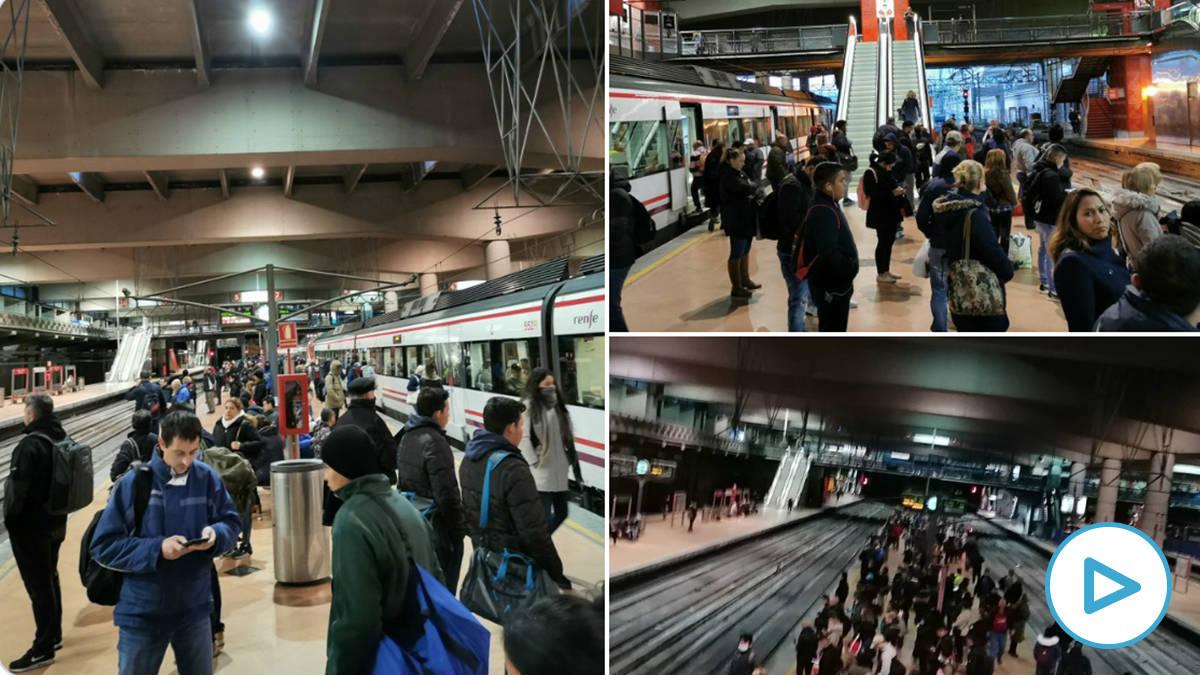 Aglomeraciones en la estación de Atocha de Madrid durante el primer lunes laborable tras decretarse el estado de alarma por el coronavirus.