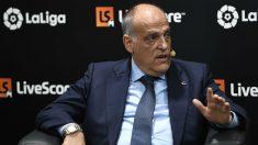 Javier Tebas, en una rueda de prensa. (AFP)