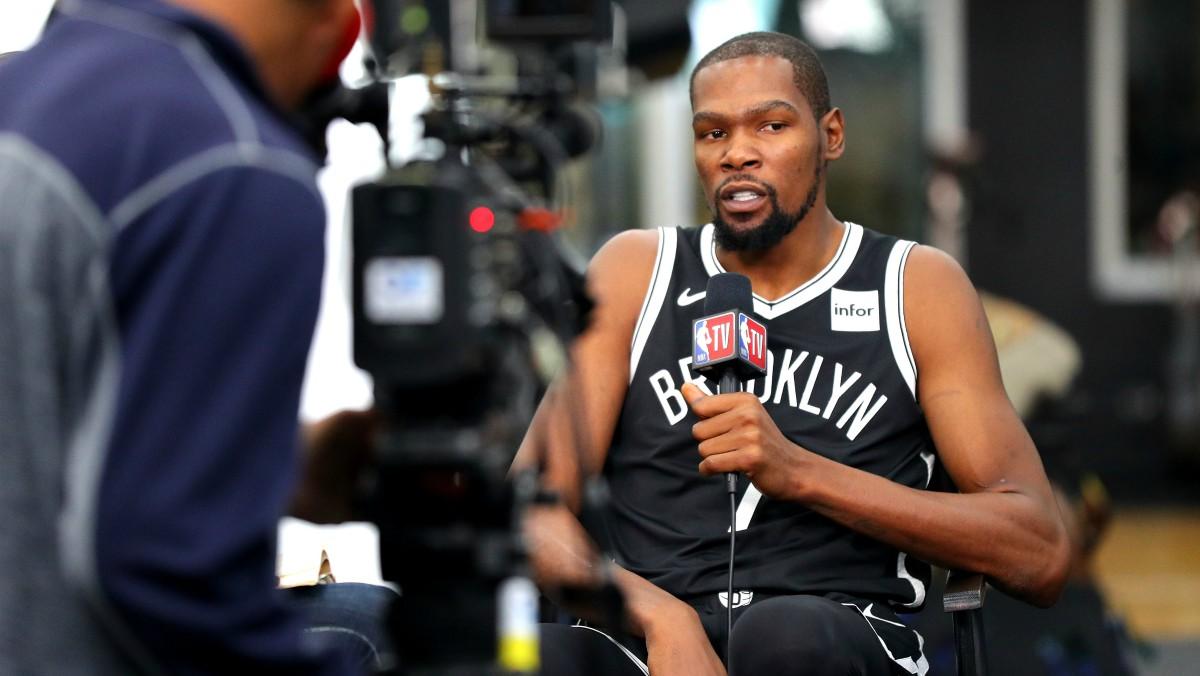 Kevin Durant, con la camiseta de Brooklyn Nets. (Getty)