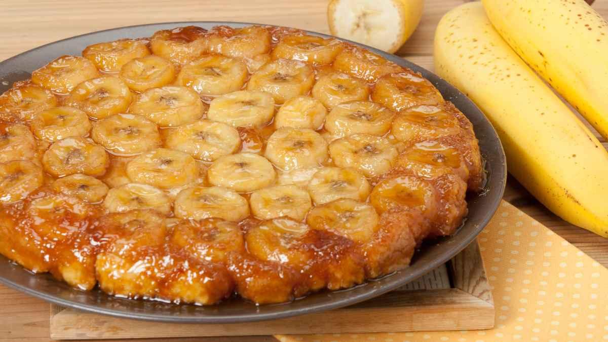 Receta de pastel volteado de plátano