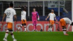 Una imagen del Atalanta-Valencia (AFP).