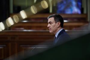 Pedro Sánchez en el Congreso sobre el estado de alarma por el coronavirus. Foto: EFE