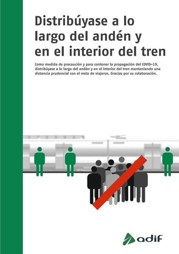 Carteles que se distribuyen en trenes y estaciones de Cercanías para que los viajeros no formen aglomeraciones