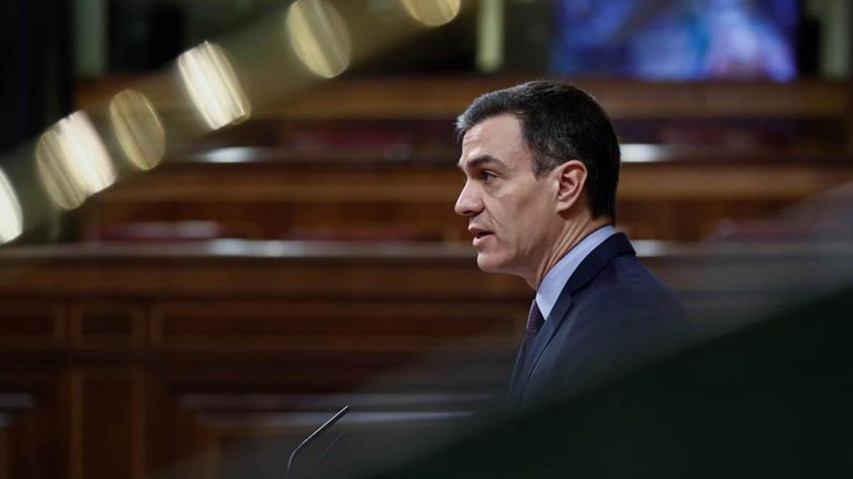 Pedro Sánchez durante una intervención en el Pleno del Congreso sobre el coronavirus.
