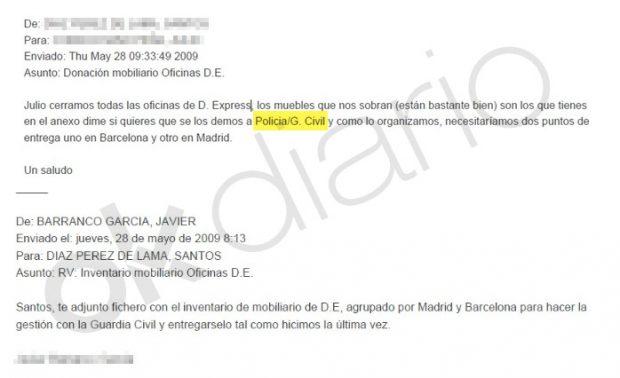 Email intercambiado entre directivos del BBVA para realizar una donación al Ministerio del Interior.