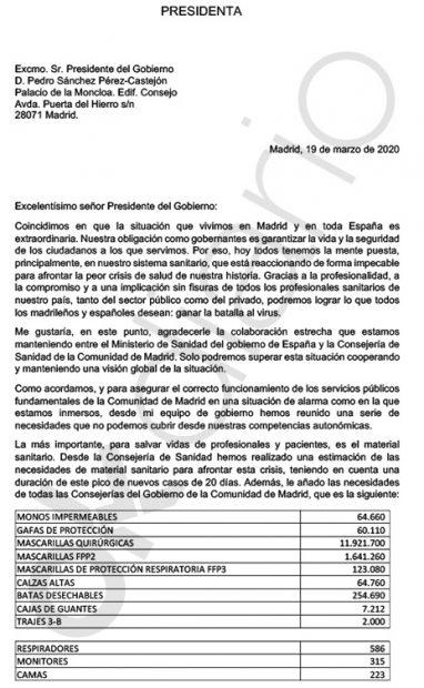 Carta de Ayuso a Sánchez
