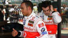Hamilton y Alonso en 2007. (AFP)