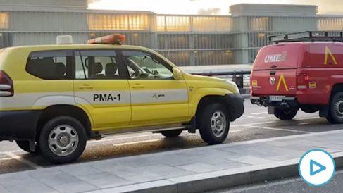 La UME desinfecta el puerto y el aeropuerto de Barcelona.