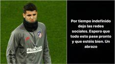 El mensaje de Morata para despedirse de las redes sociales.