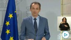 El ministro Pedro Duque, en rueda de prensa.