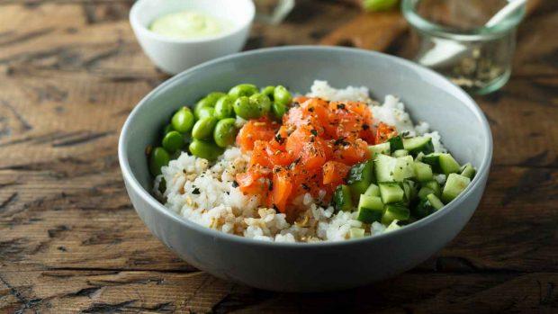 Arroz thai con salmón