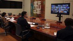 Pedro Sánchez en reunión telemática con los presidentes autonómicas en la crisis del coronavirus. (Foto: Moncloa)