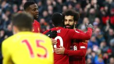 Salah y Mané celebran un gol en la Premier League. (AFP)
