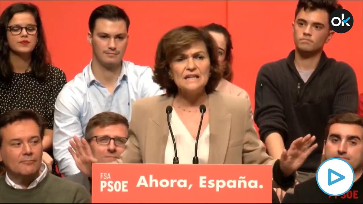 Carmen Calvo en un mitin de precampaña en Asturias en octubre de 2019.