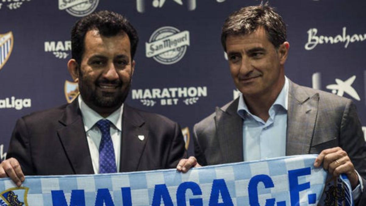 Al-Thani y Míchel, en la presentación del técnico (EFE).