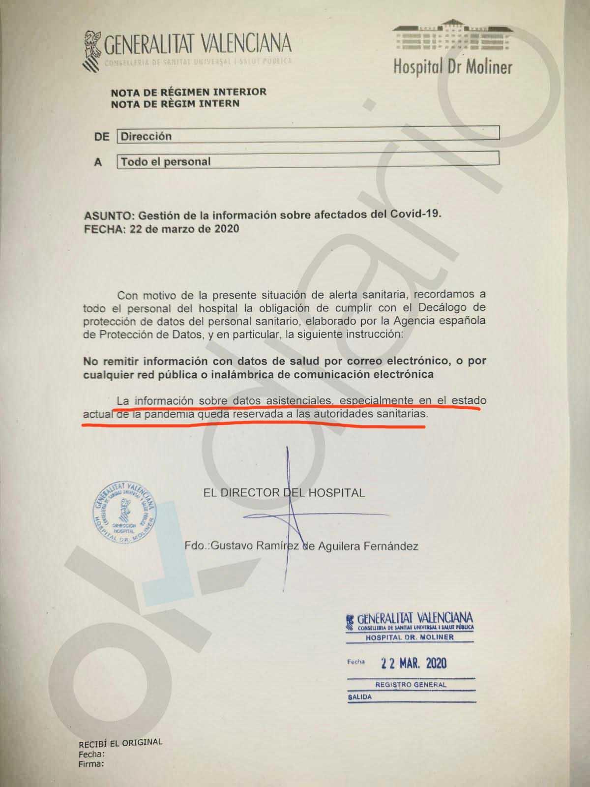"""Ximo Puig impone la censura: prohíbe al personal sanitario """"difundir"""" el colapso de los hospitales por el coronavirus"""