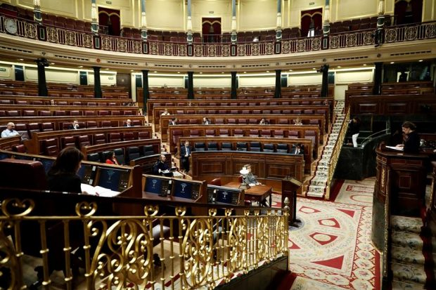 El Congreso semivacío ante la crisis del coronavirus. Foto: EFE