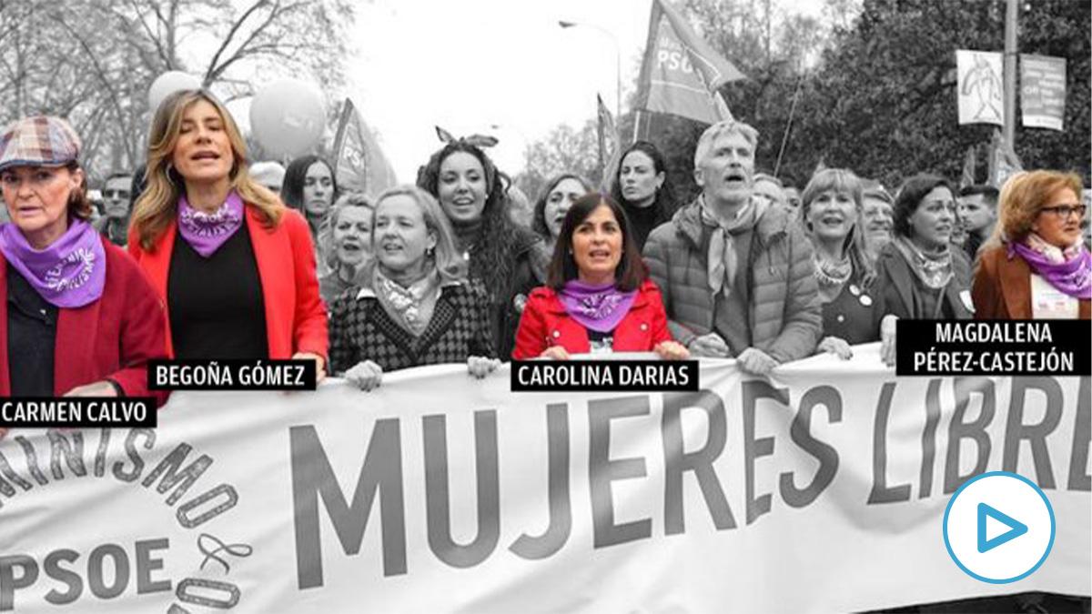 Las mujeres infectadas por coronavirus en la pancarta del PSOE el 8M