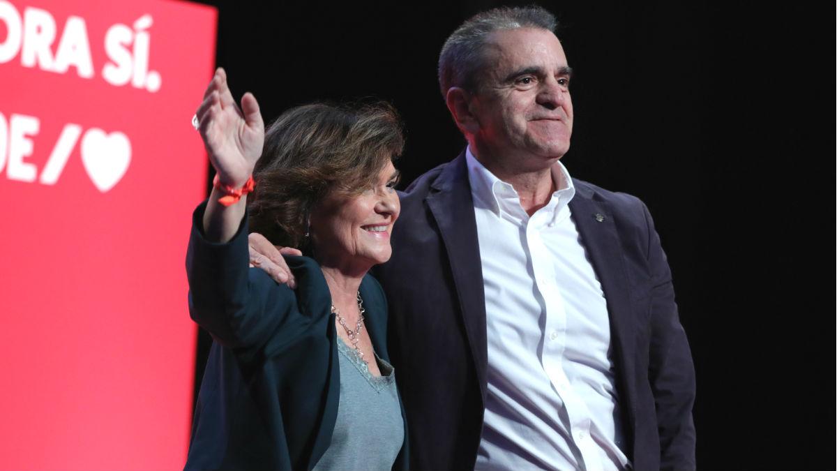 José Manuel Franco, delegado del Gobierno en Madrid, y Carmen Calvo, vicepresidente primera del Gobierno, durante un acto de campaña en el PSOE en Madrid. (Foto: Europa Press)