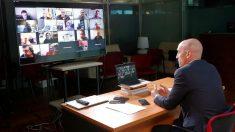 Luis Rubiales, en la reunión telemática con los presidentes territoriales. (EFE)