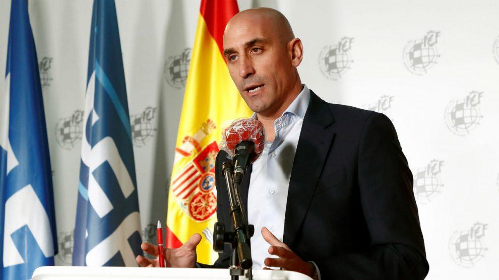 Luis Rubiales, en su comparecencia ante los medios. (EFE)